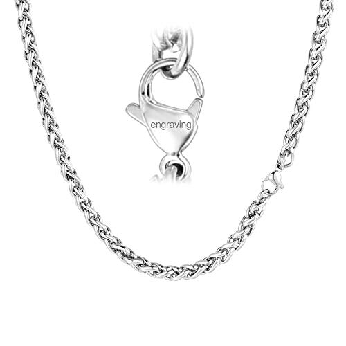 FaithHeart Custom Engraved 3 MM Twisted Spiga Wheat Chain Necklace, 20 Inches Stainless Steel Daily Chains for Men/Women (with Gift Box) ()