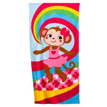 Jumping Beans Monkey Surfer Girl Beach Towels 28 x 58 (Total of 2 Towels)