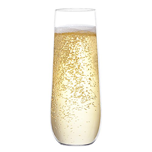 BAKHUK 9oz stemless champagne Flutes recyclable champagne plastic cups, shatterproof and BPA-free flute glasses by BAKHUK