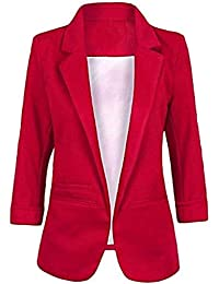 Imbry Women Boyfriend Blazers 3/4 Sleeve Cool Suit Fashion Casual Coat Jacket