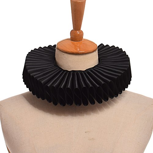 Collar Neck - GRACEART Renaissance Elizabethan Ruffle Neck Collar Black