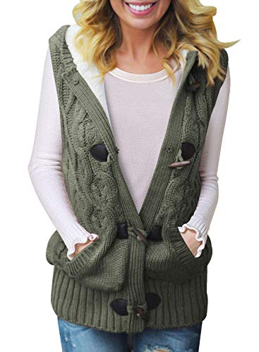 Sidefeel Women Hooded Sweater Vest Cable Knit Cardigan Outerwear Coat Medium Amy Green