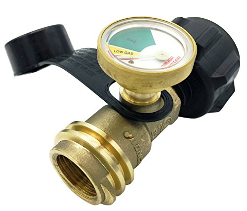 Gauge Master GMA8110 Premium Propane Tank Meter-Cylinder Gas Level Indicator Adapter Suitable for All BBQ Grill, RV Camper & Appliances-Type 1 Connection (Bbq Grill Propane Gas Tank)