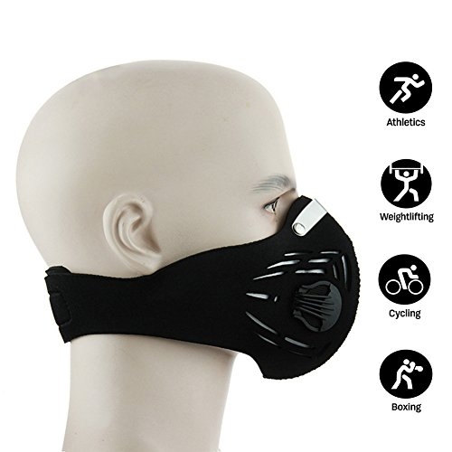 Newtall Workout Training Fitness Mask MMA High Altitude Simulation Dustproof Mask Activated Carbon Filtration Exhaust Gas Anti Pollen Allergy PM2.5 Face Mask for Running Cycling Outdoor Sports ()