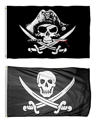 TOWEE 2 Pack Pirate Flag, 3 x 5 Ft 100% Polyester Captain Jack's Skull Flag Boat Banner Flag Halloween Flag with Metal Rings for Sailing,Boating, Bar, Ghost House, KTV and Other Outdoor Activities