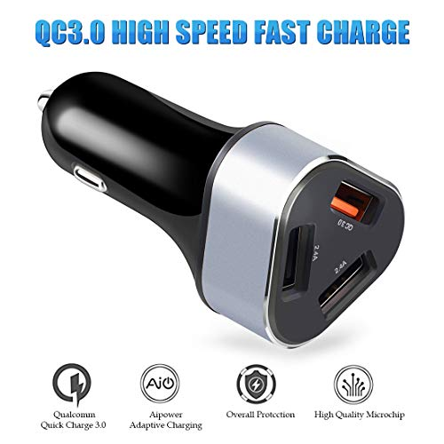(Car Charger, DIKESITU Car Charger Adapter 3 USB charging ports 2.4A + QC 3.0A /intelligent/rapid charge compatible with Android and Apple iOS mobile devices tablets MP3 Player 24V Quick Car Charge)