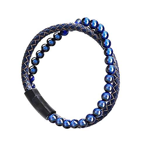 Maerzl Blue Tiger Eyes Mens Bracelet Bead Leather Bracelet Bracelet for Men Mens Leather Bracelet Mens Leather Bracelet Leather Bracelet for Men Leather Bracelet