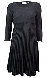 Calvin Klein Women's Plus Size Pleated Sweater Dress, Charcoal/Black, 2X