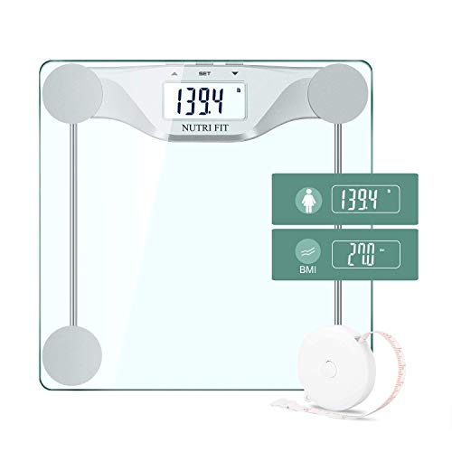 Digital Body Weight Bathroom Scale BMI, Accurate Weight Measurements Scale,Large Backlight Display and Step-On Technology,400 Pounds,Body Tape Measure Included (BMI) (Bath Scales Digital Body Fat)