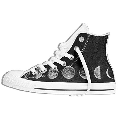 Zapatillas Altas Clásicas Zapatillas De Lona Antideslizante Ciclo Lunar Caminar Informal Para Hombres Mujeres Blanco