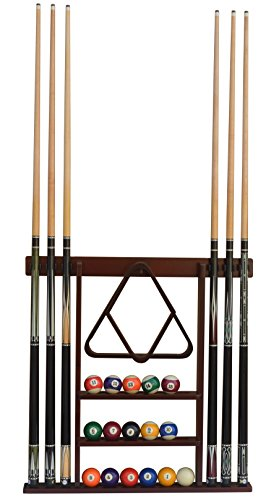 Flintar Wall Cue Rack, Stylish Premium Billiard Pool Cue Stick Holder, Made of Solid Hardwood, New Improved Wall Mounting Hardware L Bracket Included, Cue Rack Only, Mahogany -