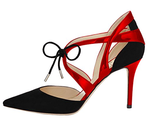 AOOAR Womens Lace Up Pointed Toe Dress Pumps Shoes Black Suede&red Patent cJa985uau