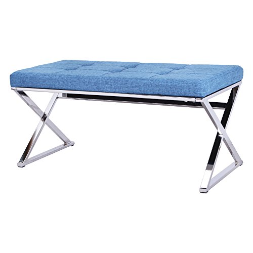 Adeco Metal Bench Entryway Footstool Seat Upholstered in Button Tufted Linen Fabric - Blue  sc 1 st  Amazon.com & Upholstered Bench Seat Stool: Amazon.com islam-shia.org