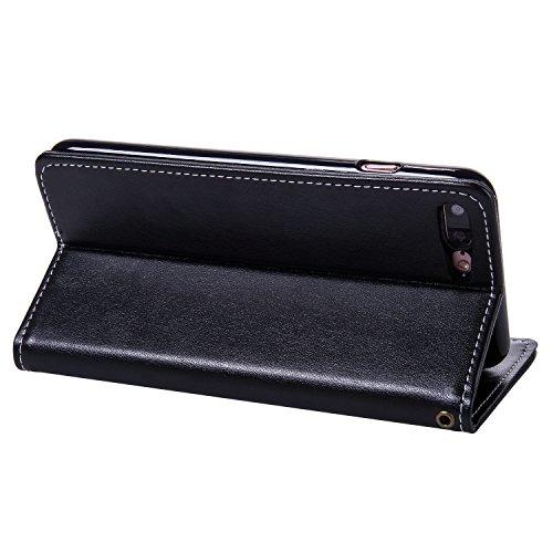 SRY-Caso sencillo Caja de cuero de la PU de la carpeta, cubierta del caso del soporte del tirón de Folio con el sostenedor y ranuras de la tarjeta y encierro magnético para el iPhone 7 más Protección  Darkblue