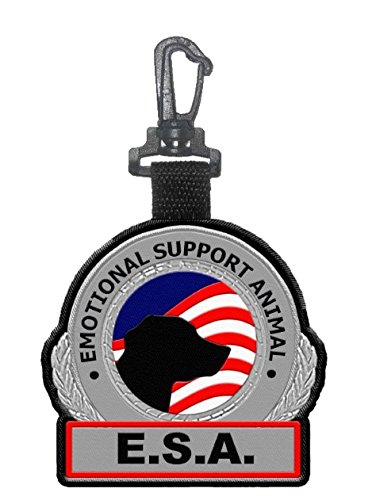 Emotional Support Animal ESA Clip on Identification Hanging Patch Tag  Clips onto a Service Dog Vest, Harness, Collar, Leash or Carrier