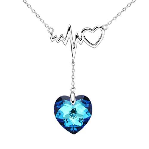 EleQueen 925 Sterling Silver Dangling Love Heart of Ocean Lightning Bolt Bridal Pendant Necklace Bermuda Blue Made with Swarovski Crystals (Bermuda Blue Crystal)