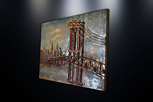 Modern Metal Art Wall Sculpture Home Decor Brooklyn Bridge (Small (23''x15''))