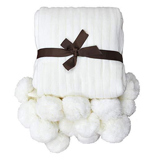 TEALP Pom Pom Blanket White Cotton Knitted Throw Blanket with Pom Poms (Cream White, 40
