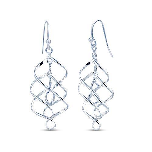 Charmsy Sterling Silver Jewelry Infinity Knot Twist French-Wire Drop Dangle Earrings for Women 48 MM - French Twist Earrings
