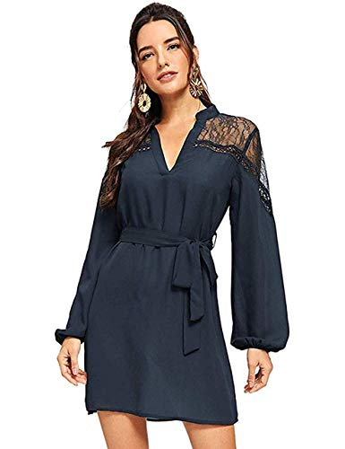 (Milumia Women's Casual V Neck Long Sleeve Mesh Insert Belted Shirt Dress Navy Large)