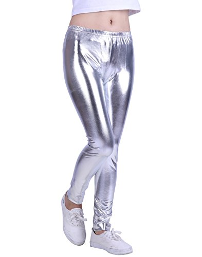 HDE Girls Shiny Wet Look Leggings Kids Liquid Metallic Footless Tights (4T-12) (Silver, -