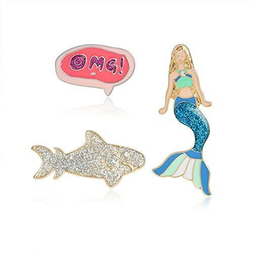 (3 Piece/Set Mermaid Shark Brooches Jacket Sweater Coat Pin Badge Jewelry Gift)