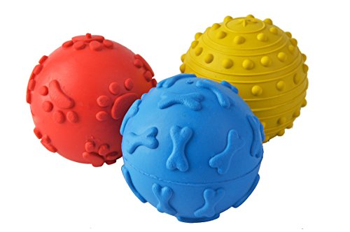 BINGPET Squeaky Balls for Dogs 3 Pack Rubber Dog Chew Toys