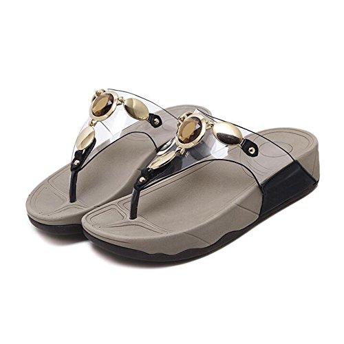 Feifei Negro Color Tamaño Material Mujer Playa Rhinestone Negro Personalidad Zapatos de Beige Verano Negro PU de Zapatillas 5 Moda UK5 de Opcional EU38 la CN38 6xqn6Twr