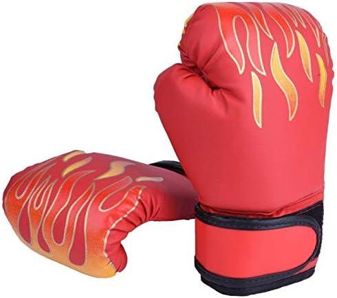 RDBH 子供ボクシンググローブキッズ専門的な訓練ファイティンググローブムエタイスパーリングパンチキックボクシング通気性PUフレイムグローブ (Color : Red)