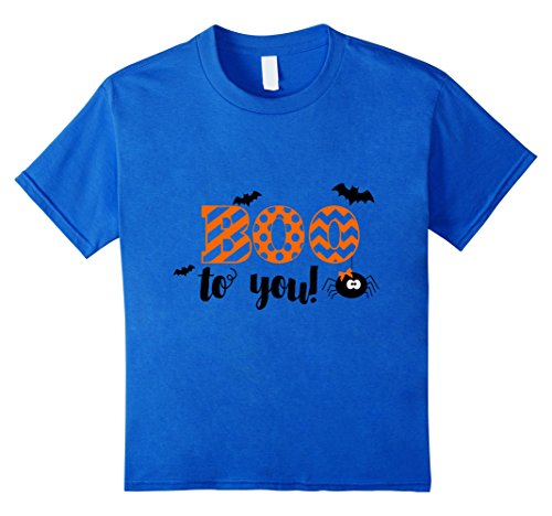 Kids Boo Halloween T-Shirt With Girly Spider And Bats 6 Royal Blue (Homemade Halloween T Shirts For Kids)