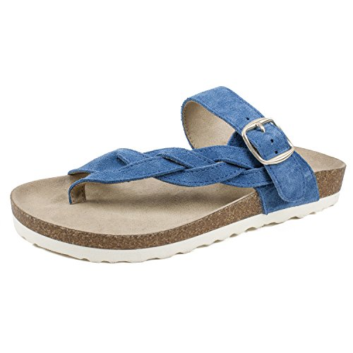 WHITE MOUNTAIN Shoes Crawford Women's Sandal, Denim Blue/Suede, 6 M