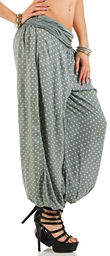 malito Pantalón Bombacho con Punto Pantalones Anchos 7190 Mujer Talla Única Olive