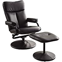 Homelegance 8555BLK-1 Swivel Reclining Chair with Ottoman, Black Bonded Leather Match