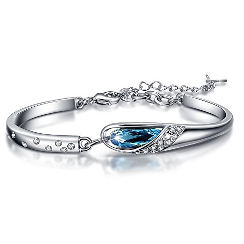KesaPlan Glass Slipper Bangle Blue Bracelets Fairytale Design for Teen Girls, Crystals From Swarovski Design Childrens Bangle