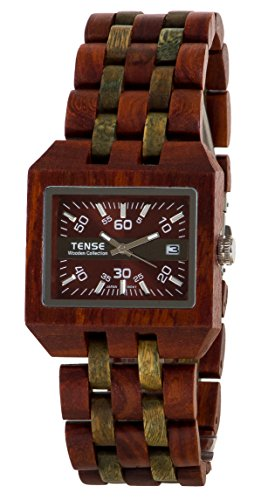 Tense Discovery Comox Rectangular Sandalwood/Green Wood Watch B5100SG Brown