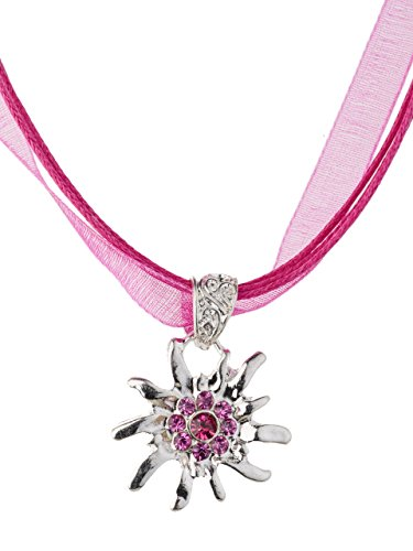 Trachtenkette glänzendes Edelweiss mit funkeldem Strass in vielen Farben - Trachtenschmuck Halskette für Dirndl, Lederhose, Bluse (Fuchsia)