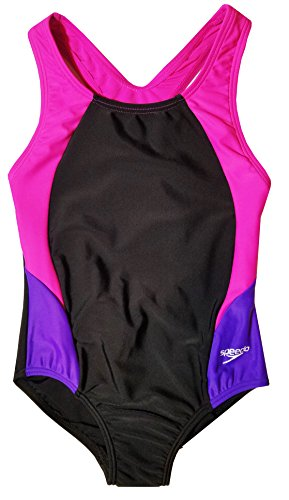 Speedo Big Girls Solid Infinity Splice One Piece Swimsuit (16, Black Pink)
