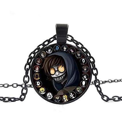 Creepypasta Necklace,Creepy Pasta Ticci Toby Necklace,Glass Pendant,Black  Chain Necklace