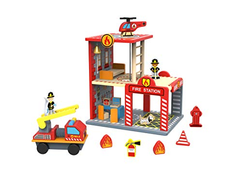 TOYSTER'S My Big Fire Station Wooden Emergency Vehicle Playset | Toddler Toy Fire Department House Dollhouse for Boys and Girls | Kids Wood Fireman Play Set Playhouse | Suitable for Ages 3 and Up