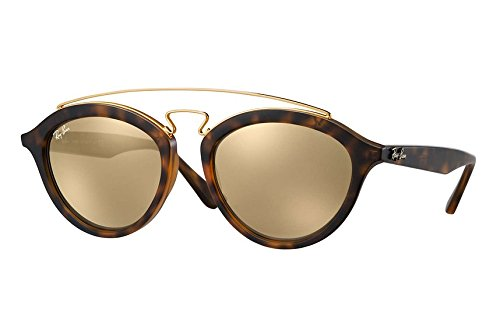 Ray-Ban Women's New Gatsby Ii Non-Polarized Iridium Round Sunglasses, Matte Havana, 53 - Gatsby Rayban