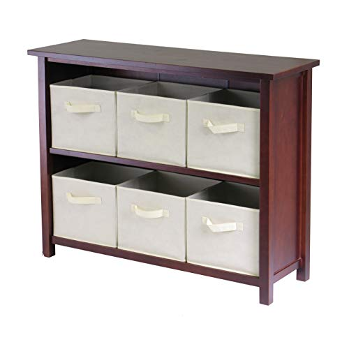 Winsome Wood Verona Wood 3 Tier Open Cabinet with 6 Beige Folding Fabric Baskets