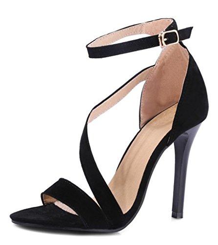 Haut Lanière Pointu Femme Noir Escarpins Talon Escarpins Haute Sandales Pointure Large Boucle Minetom Talon Chaussures ZXqPX
