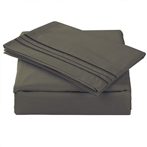 TASTELIFE 105 GSM Deep Pocket Bed Sheet Set Brushed Hypoallergenic Microfiber 1800 Bedding Sheets Wrinkle, Fade, Stain Resistant - 4 Piece(Darkgrey,California King)
