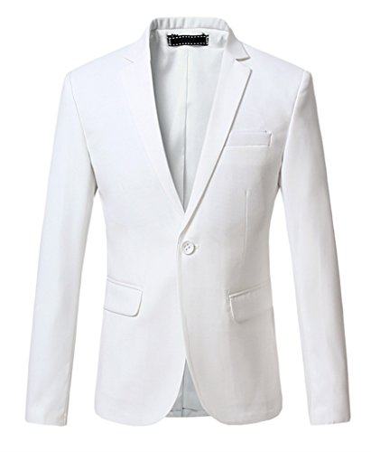(MOGU Mens Slim Fit One Button Casual Blazer Jacket US Size 44 (Label Asian Size 6XL) White)