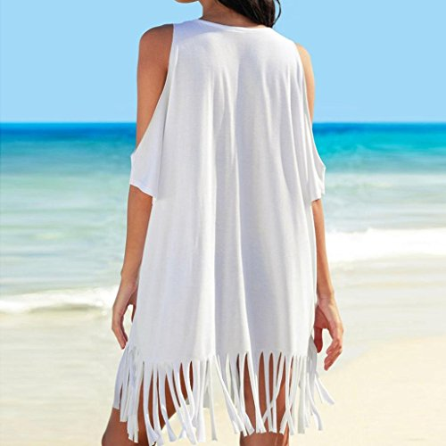 donna bagno Stampare da costumi Tassel donna lungo costume spiaggia donna vestito donna mare vestiti pizzo donna donna beautyjourney estivo lungo Bianco Copricostume vestito copricostume 61Bqca