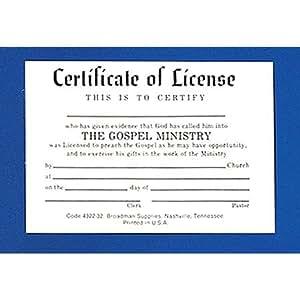 Minister's License Certificate, Billfold Size