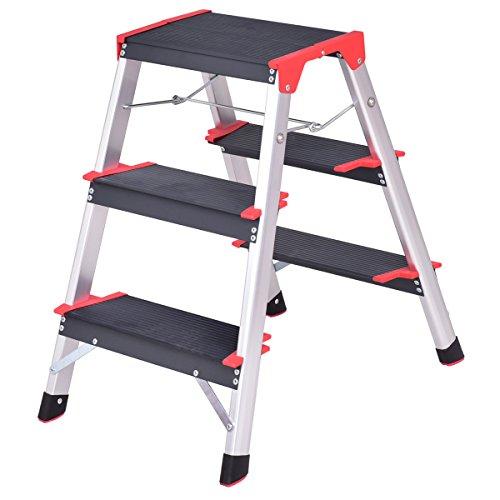 Giantex Aluminum 3 Step Ladder Folding Non-Slip Lightweight 330lbs Capacity Platform Stool Aluminum Platform Step Ladder