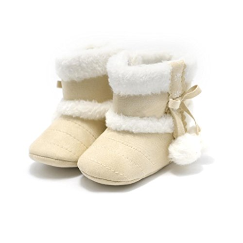 e883cef48 Voberry Baby Toddler Girls Knit Soft Winter Warm Snow Boot Fur Trimmed Pom  Pom Boots (