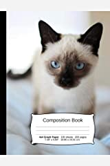 """Cat Composition Notebook, Graph Paper: 4x4 Quad Rule Composition Book, Student Exercise Science Math Grid, 200 pages, 7.44"""" x 9.69"""" (Cat Series) Paperback"""