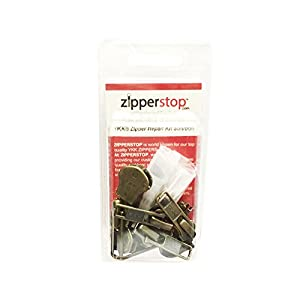 ZipperStop Wholesale YKK® - Zipper Repair Kit Solution 8 sets of YKK® Auto Lock Sliders Assorted 4 of #5, 2 of #7 and 2 of #10 Included Top & Bottom Stops Made in USA (YKK Antique Auto Lock Sliders)